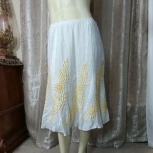 LAFAYETTE 148 New York Linen Embroidered Skirt